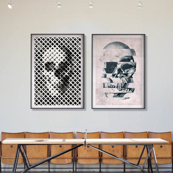 Skull Print Set, Set Of 2 Skull Prints, Modern Skull Home Decor