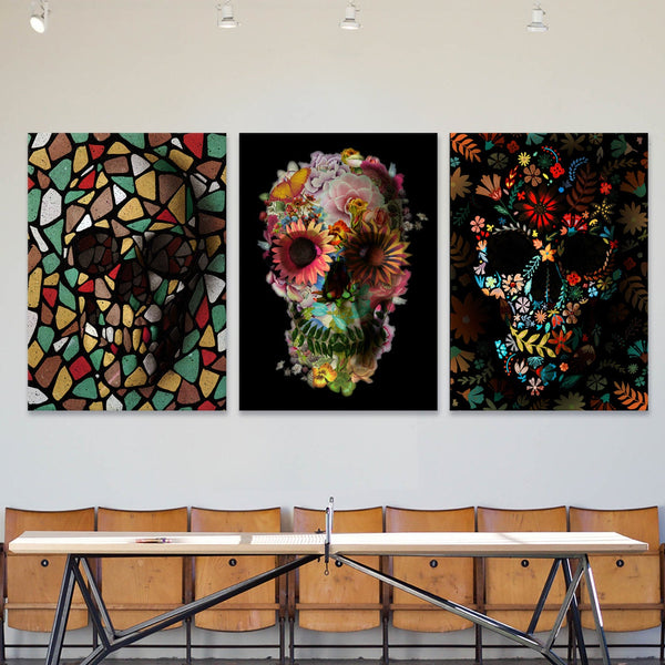 Sugar Skull Set of 3 Canvas Print, Gothic Skull Art Print Set, Flower Skull 3 Piece Canvas Home Decor