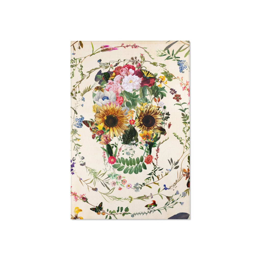 Flowery Skull Area Rug, Boho Skull Room Decor Gift, Floral Skull Durable Floor Art