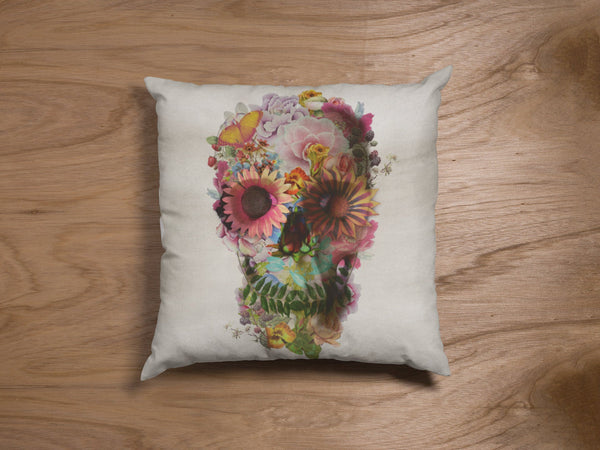 Flower Skull Throw Pillow, Boho Skull Spun Polyester Square Pillow, Gothic Sugar Skull Home Decor