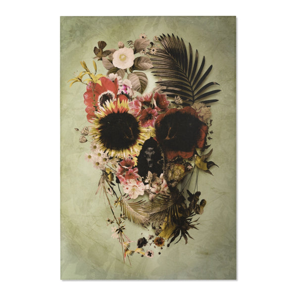 Floral Skull Area Rug, Sugar Skull Room Decor, Flower Sugar Skull Durable Floor Art