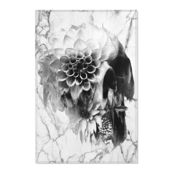 Sugar Skull Area Rug, Marble Skull Room Decor, Gothic Floral Sugar Skull Durable Floor Art