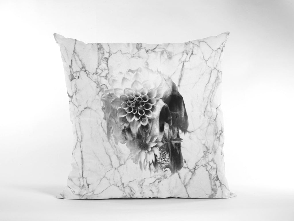 Marble Skull Throw Pillow, Floral Skull Spun Polyester Square Pillow, Gothic Sugar Skull Home Decor