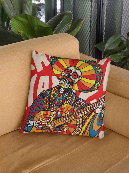 Mariachi Skull Throw Pillow, Mexican Skull Spun Polyester Square Pillow, Gothic Sugar Skull Home Decor