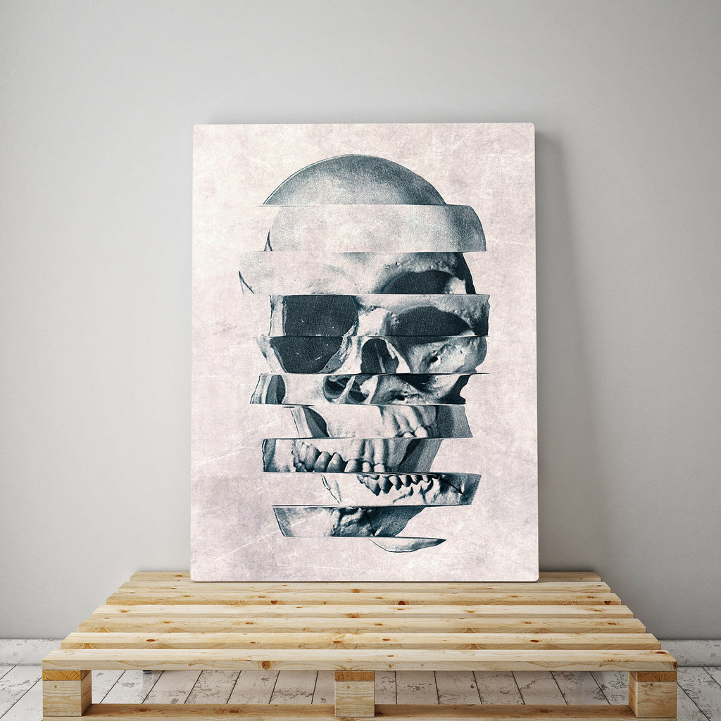 Glitch Skull Canvas Print, Abstract Skull Canvas Art Print, Sugar Skull Canvas Art Home Decor Gift