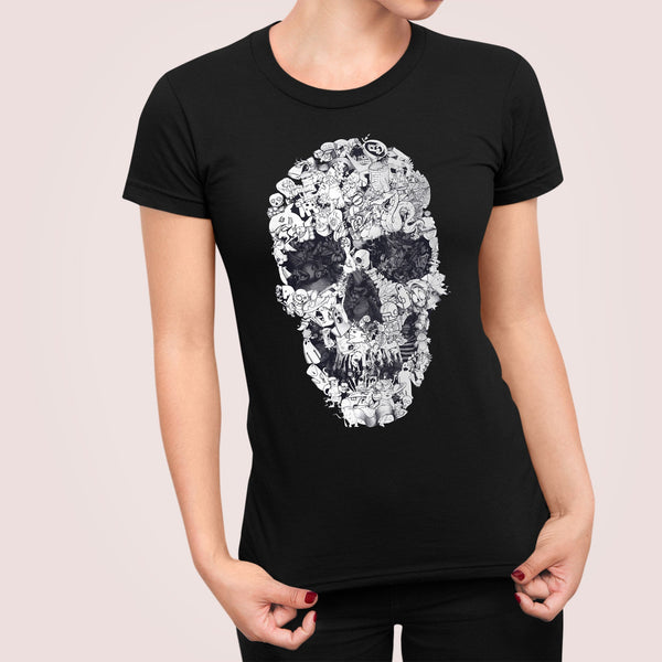Womens Skull T shirt, Sugar Skull Print Womens T-Shirt, Gothic Skull Shirt Gift For Her
