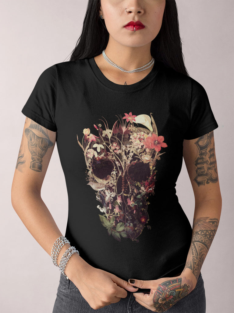 Bloom Skull Womens T-Shirt, Sugar Skull Art Tshirt Gift For Her, Floral Skull Print Boho Graphic Tee