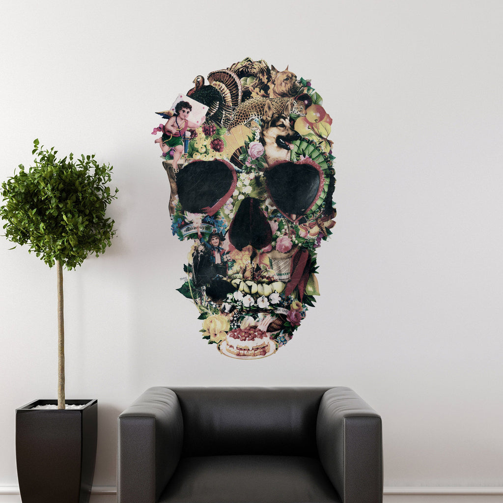 Skull Wall Decal, Gothic Wall Sticker, Sugar Skull Wall Art Home Decor