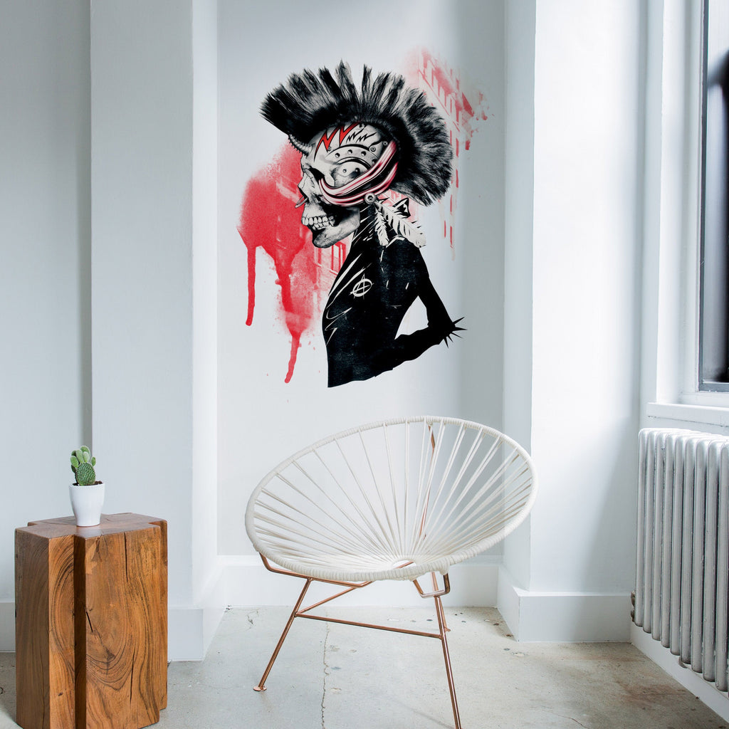 Punk Wall Sticker, Punk Skull Art Wall Decal, Vinyl Sugar Skull Home Decor