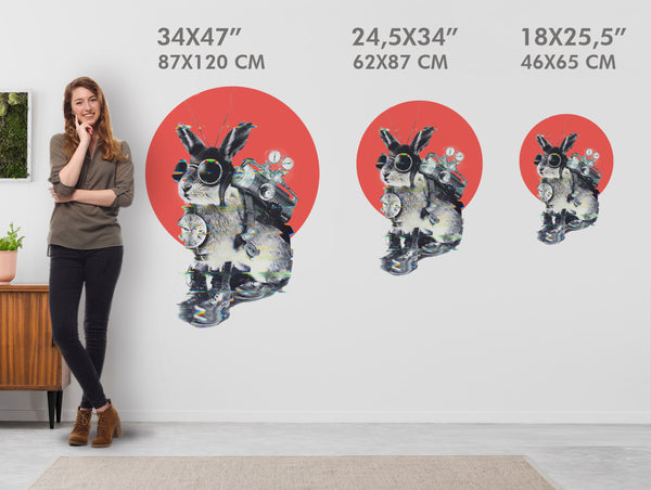 Bunny Wall Sticker, Funny Bunny Wall Decal, Vinyl Bunny Home Decor