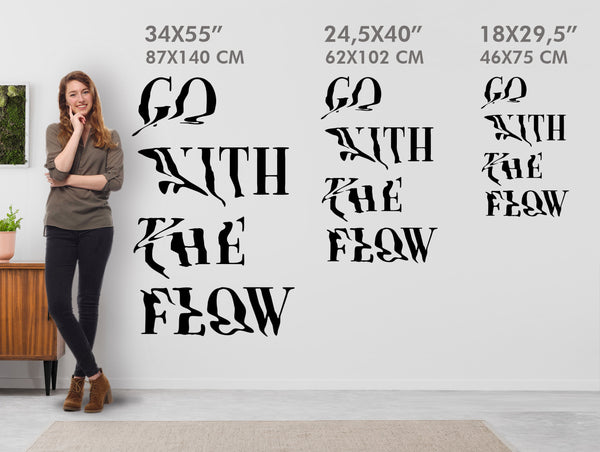 Go With The Flow Wall Sticker, Cool Quote Wall Decal, Vinyl Slogan Home Decor
