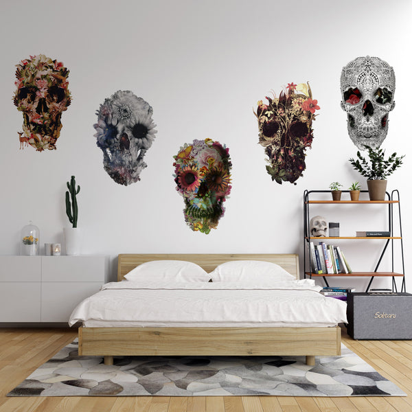 Skull Wall Decal Set, Set Of 5 Floral Skull Wall Sticker, Sugar Skull Wall Art Home Decor