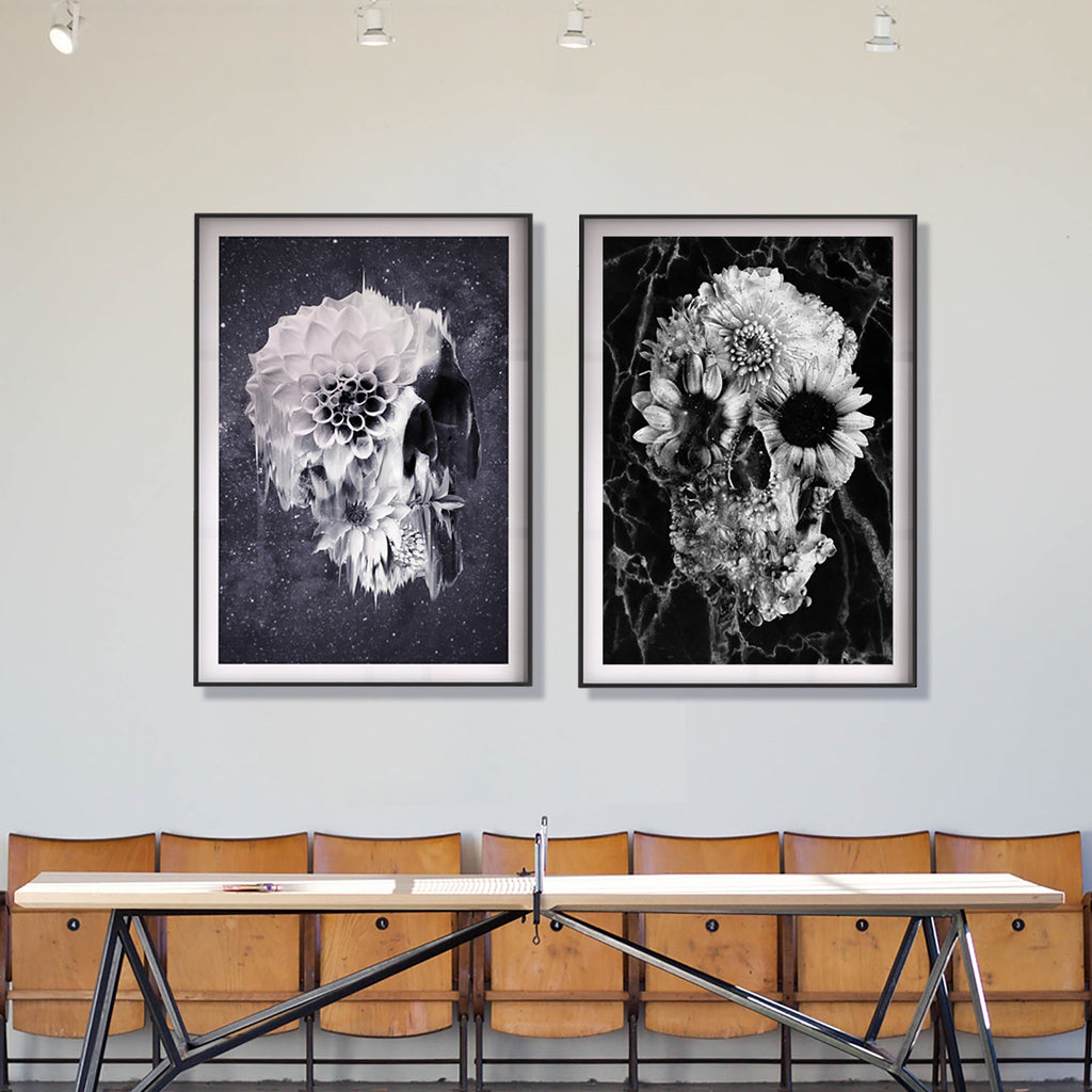 Flower Skull Poster Set, Black And White Skull Art Print Set Of 2, Botanical Sugar Skull Home Decor Wall Art Gift
