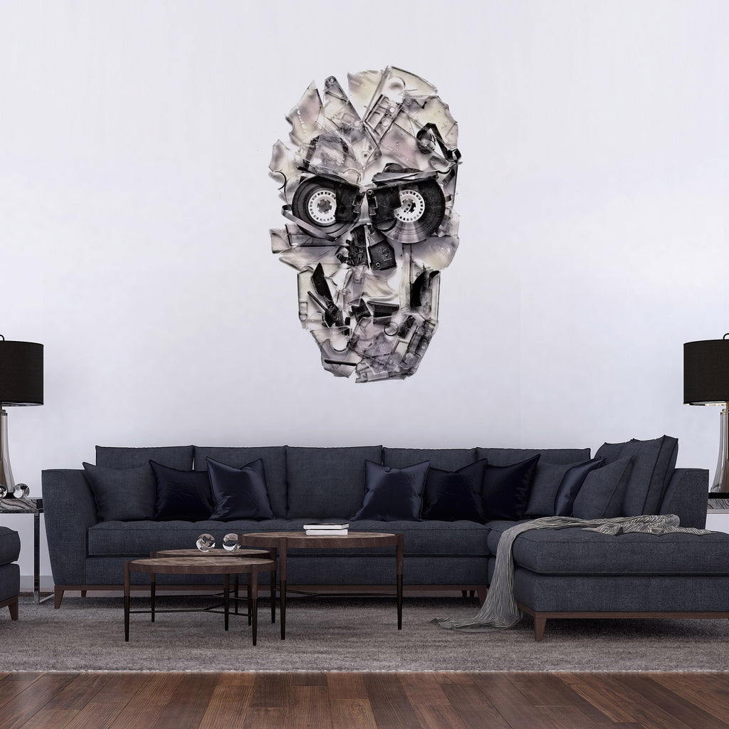 Skull Wall Decal, Music Theme Wall Sticker, Sugar Skull Wall Art Home Decor