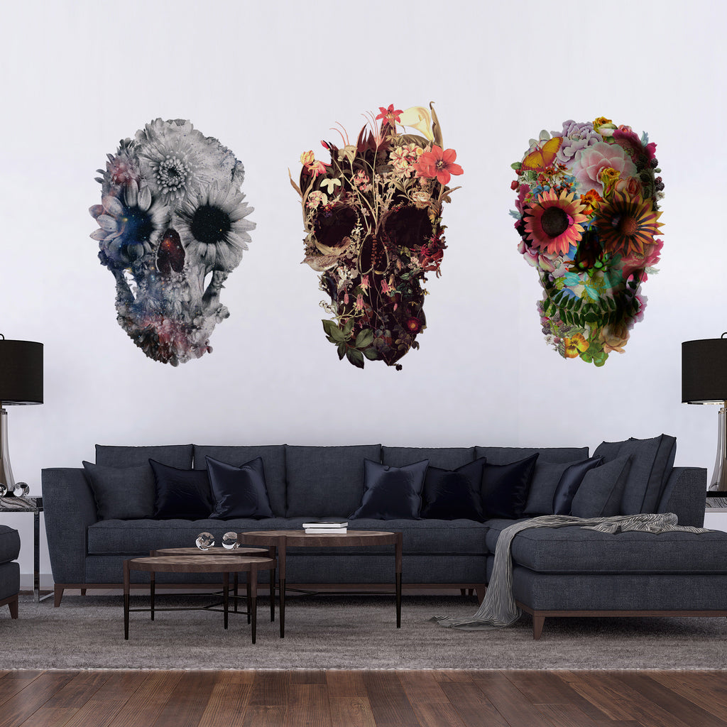 Set Of 3 Wall Decal Set, Floral Skull Wall Sticker, Sugar Skull Wall Art Home Decor