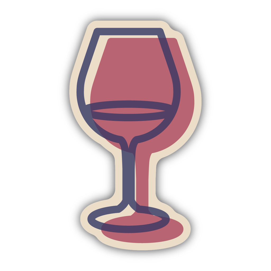 Stickers Northwest Glass of Wine Large Printed Sticker