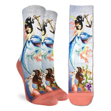 Load image into Gallery viewer, Good Luck Sock Women's Mermaids and Dolphins