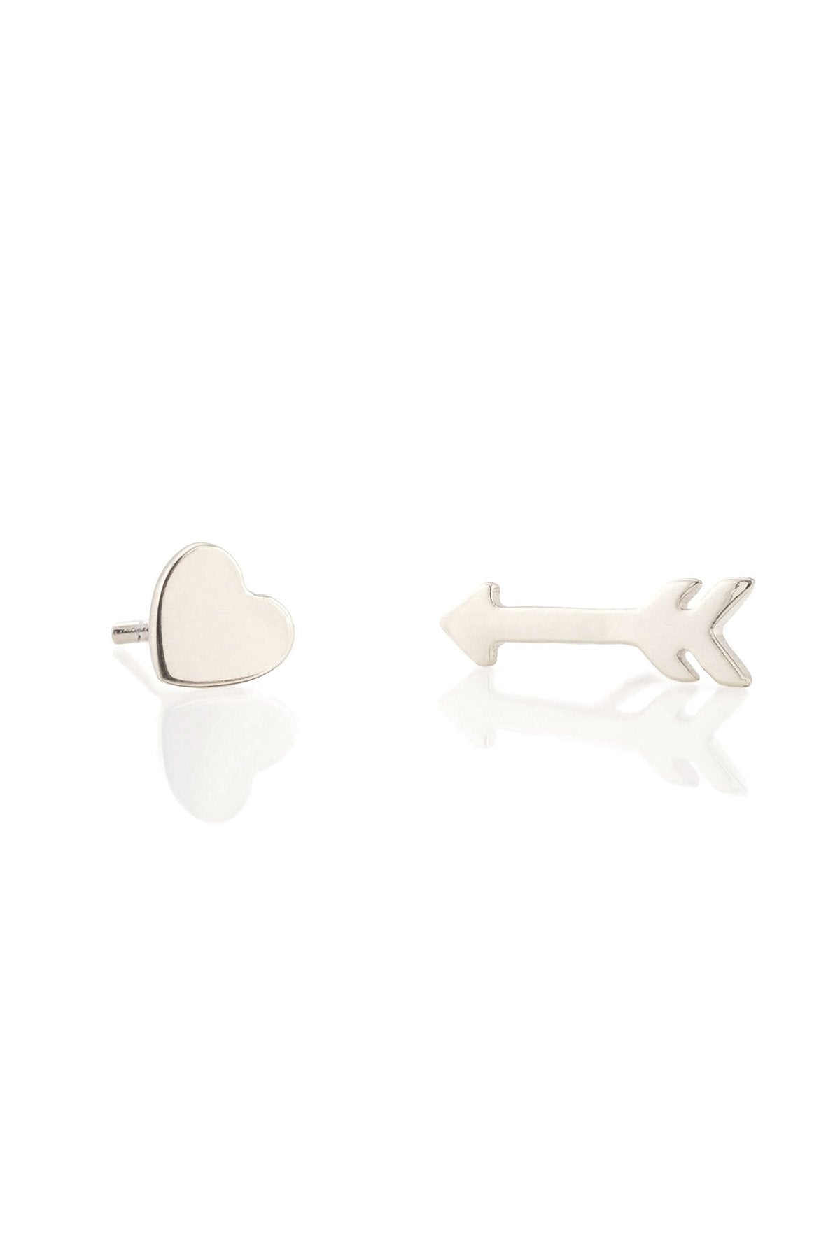 Kris Nations Heart and Arrow Stud Earrings in Sterling Silver