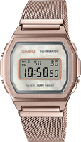 Casio Vintage Rose Gold Mesh Band Pearl Face Watch