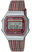 Load image into Gallery viewer, Casio Vintage Plaid Houndstooth Band Maroon and Silver Face Watch