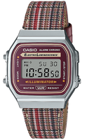 Casio Vintage Plaid Houndstooth Band Maroon and Silver Face Watch