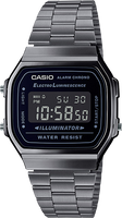 Casio Vintage Silver Band Black Face ElectroLuminescent Watch
