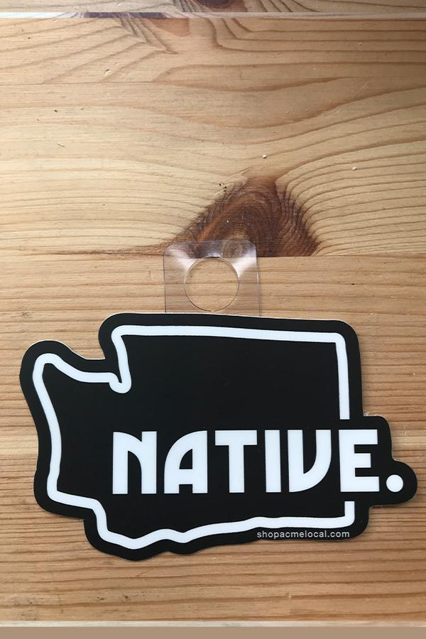 Acme Local Washington State Outline Native Sticker Black