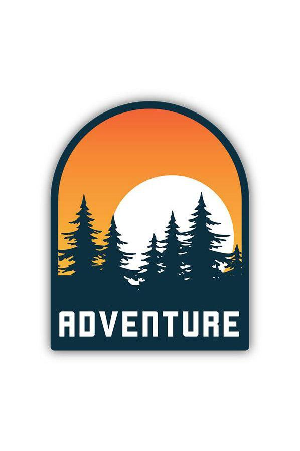 Stickers Northwest Adventure Sun Setting Behind Trees Large Printed Sticker