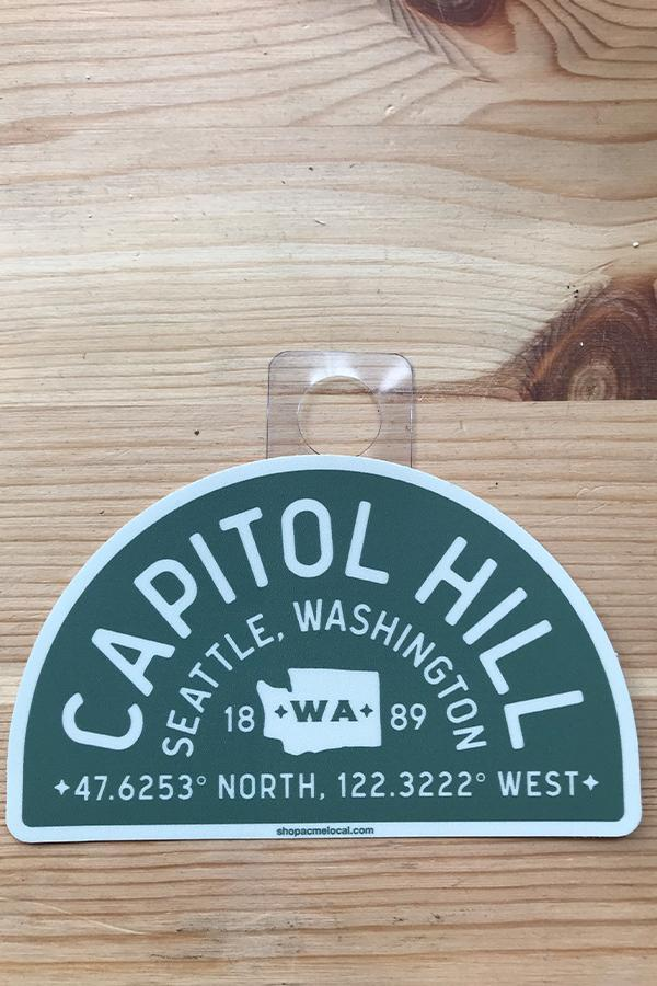 Acme Local Capitol Hill Lat Long Arch Sticker Green