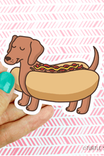 Load image into Gallery viewer, Turtle's Soup Dachshund Hot Dog Vinyl Sticker