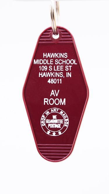 Three Sisters Motel Key Fob Hawkins Middle School AV Room