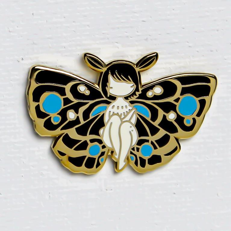 Stasia Burrington Moth Girl Blue Pin