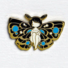 Load image into Gallery viewer, Stasia Burrington Moth Girl Blue Pin