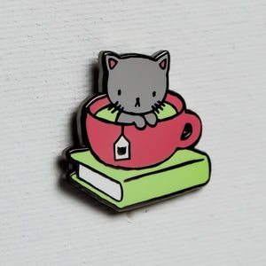 Stasia Burrington PURRfect Combo enamel pin - Tea, Book, Cat