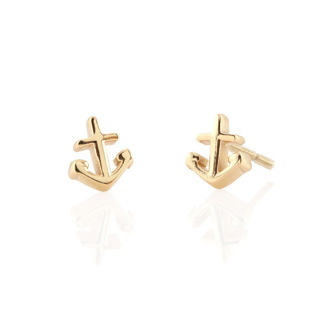 Kris Nations Anchor Stud Earrings in 18K Gold Vermeil