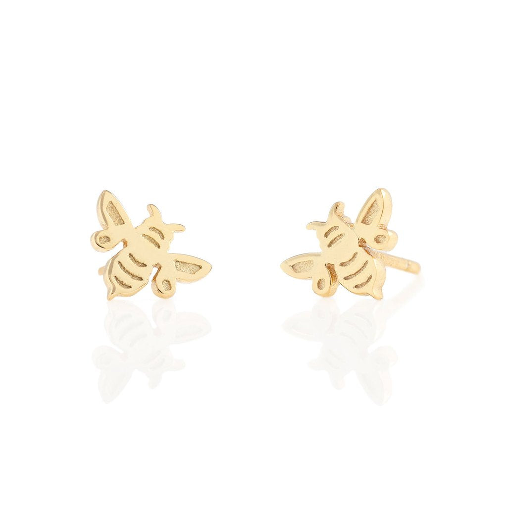 Kris Nations Bumble Bee Stud Earrings in 18K Gold Vermeil