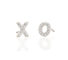 Load image into Gallery viewer, Kris Nations XO Pave Stud Earrings in Sterling Silver
