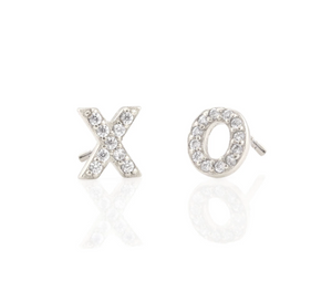 Kris Nations XO Pave Stud Earrings in Sterling Silver
