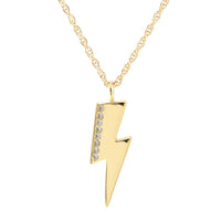 Kris Nations Medium Lightning Bolt Charm Necklace with Pave - 18K Gold Vermeil