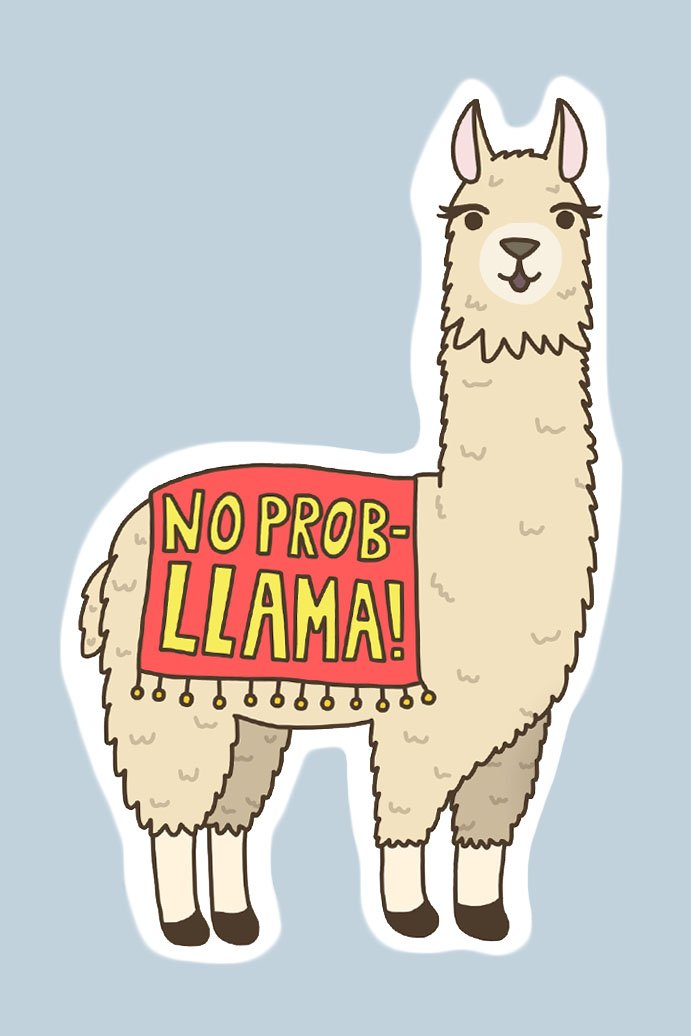 Turtle's Soup No Prob-Llama Vinyl Sticker