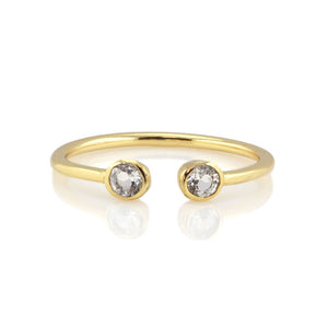 Kris Nations Double Gemstone Ring - White Topaz & 18K Gold Vermeil