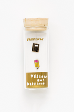 Load image into Gallery viewer, Yellow Owl Workshop Stud Earrings Pencil and Notebook