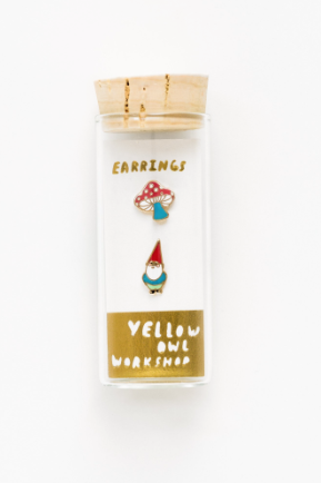 Yellow Owl Workshop Stud Earrings Gnome and Mushroom