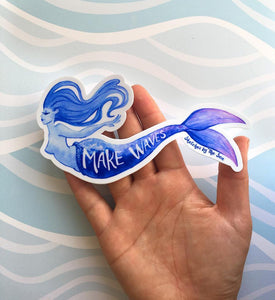 Sketches by the Sea Make Waves Mermaid Sticker