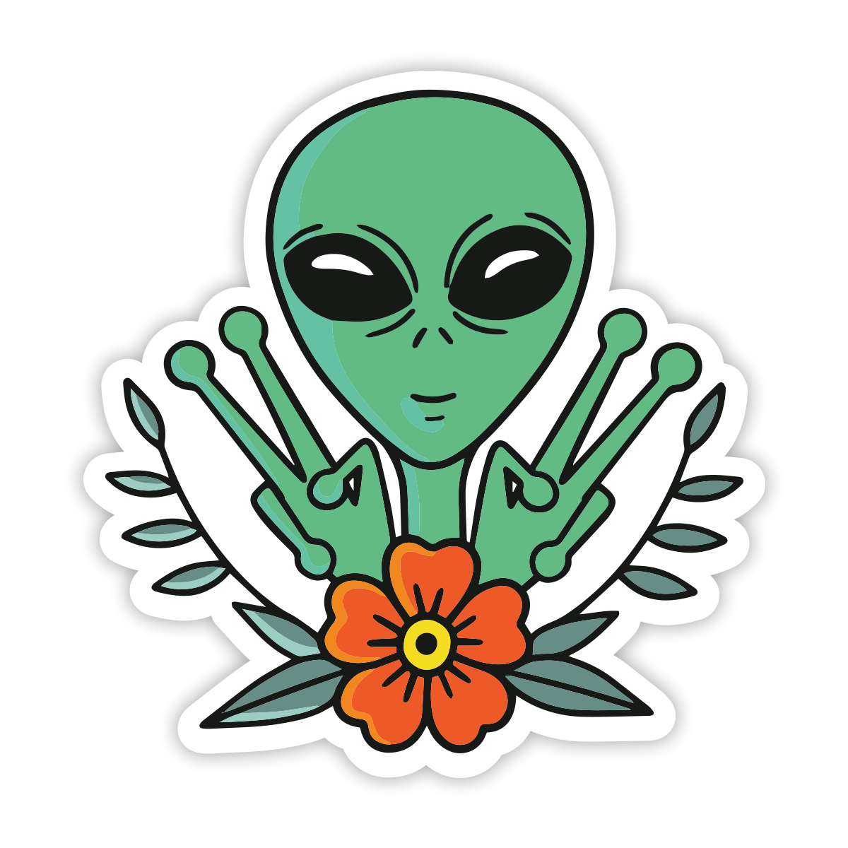 Stickie Bandits Peace Out Alien Sticker