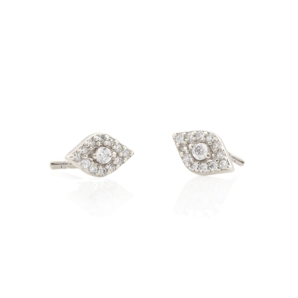 Kris Nations Third Eye Pave Stud Earrings in Sterling Silver