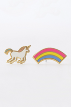 Load image into Gallery viewer, Yellow Owl Workshop Stud Earrings Unicorn And Rainbow
