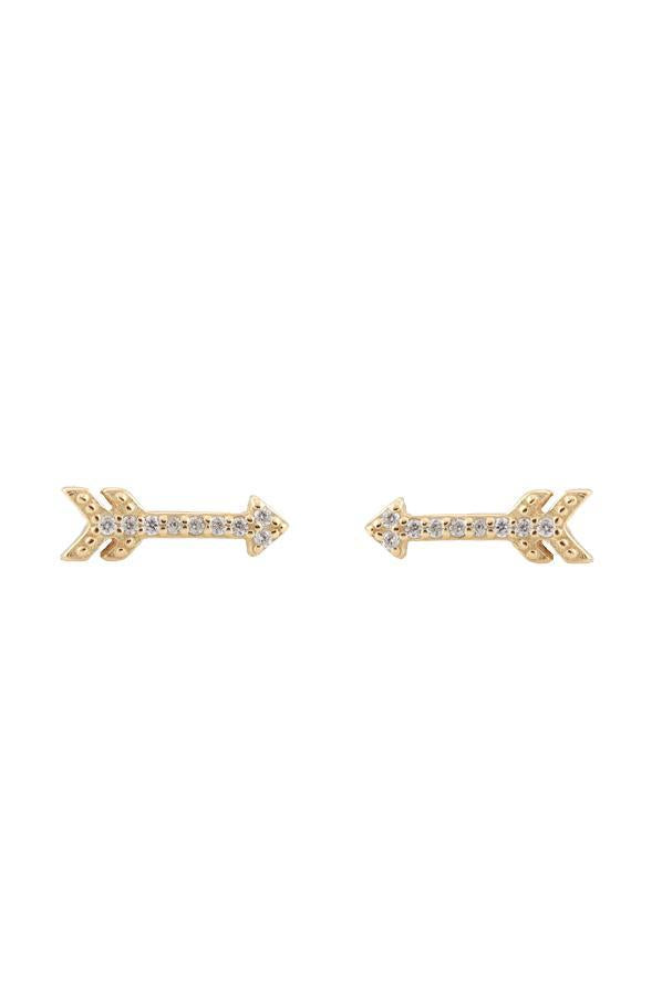 Kris Nations Arrow Stud Earrings in 18K Gold Vermeil