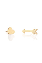 Load image into Gallery viewer, Kris Nations Heart and Arrow Stud Earrings in 18K Gold Vermeil