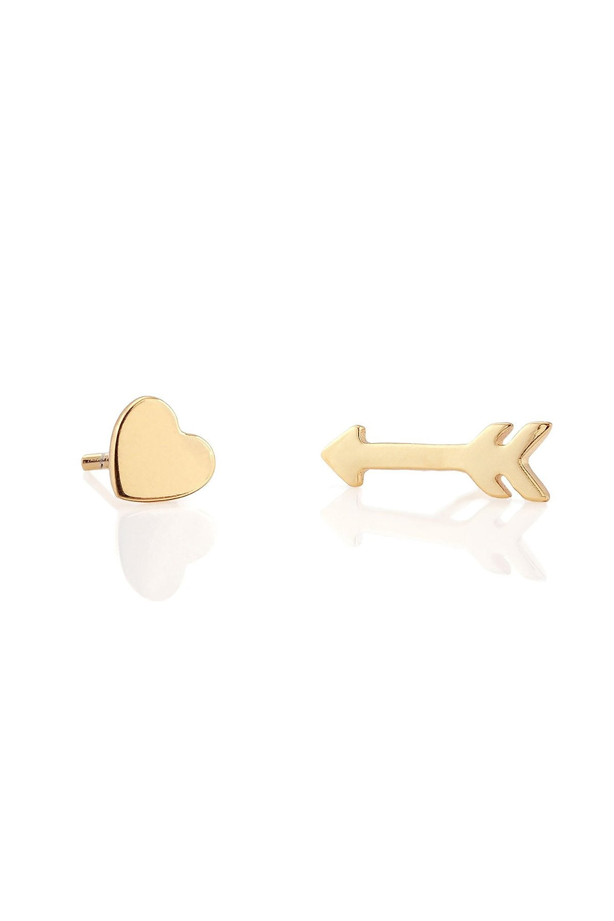 Kris Nations Heart and Arrow Stud Earrings in 18K Gold Vermeil